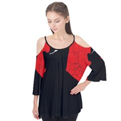 Red And Black Abstract Design Flutter Tees