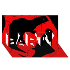Black And Red Lizard  Party 3d Greeting Card (8x4) by Valentinaart