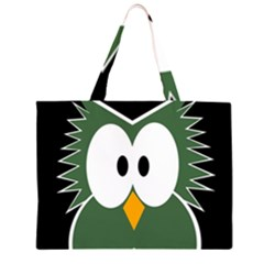 Green owl Zipper Large Tote Bag by Valentinaart