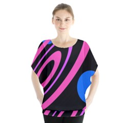 Pink And Blue Twist Blouse by Valentinaart