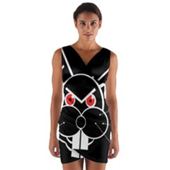 Evil Rabbit Wrap Front Bodycon Dress by Valentinaart