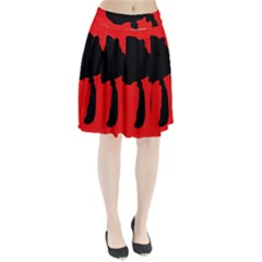 Red And Black Abstraction Pleated Skirt