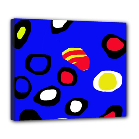 Blue Pattern Abstraction Deluxe Canvas 24  X 20   by Valentinaart