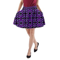 Dots Pattern Purple A Line Pocket Skirt by BrightVibesDesign
