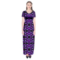 Dots Pattern Purple Short Sleeve Maxi Dress by BrightVibesDesign