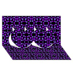 Dots Pattern Purple Twin Hearts 3d Greeting Card (8x4) by BrightVibesDesign
