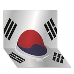 Flag Of South Korea Heart Bottom 3D Greeting Card (7x5) by artpics