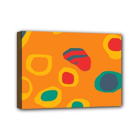 Orange Abstraction Mini Canvas 7  X 5  by Valentinaart