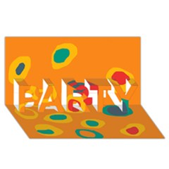 Orange Abstraction Party 3d Greeting Card (8x4)