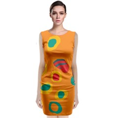 Orange Abstraction Classic Sleeveless Midi Dress by Valentinaart