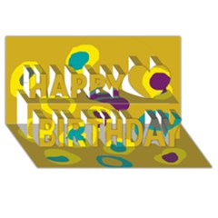 Yellow Abstraction Happy Birthday 3d Greeting Card (8x4) by Valentinaart