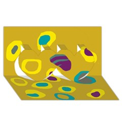 Yellow abstraction Twin Hearts 3D Greeting Card (8x4) by Valentinaart