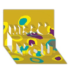 Yellow Abstraction Miss You 3d Greeting Card (7x5) by Valentinaart