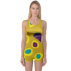 Yellow Abstraction One Piece Boyleg Swimsuit by Valentinaart