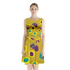 Yellow Abstraction Sleeveless Waist Tie Dress