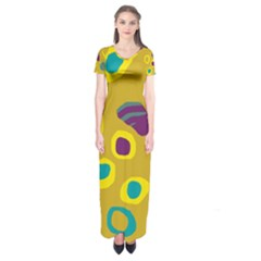 Yellow Abstraction Short Sleeve Maxi Dress by Valentinaart