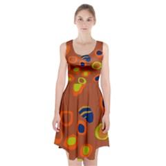 Orange Abstraction Racerback Midi Dress by Valentinaart