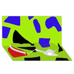 Green Abstraction Twin Heart Bottom 3d Greeting Card (8x4) by Valentinaart