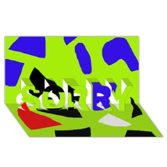 Green Abstraction Sorry 3d Greeting Card (8x4) by Valentinaart