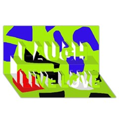 Green abstraction Laugh Live Love 3D Greeting Card (8x4) by Valentinaart