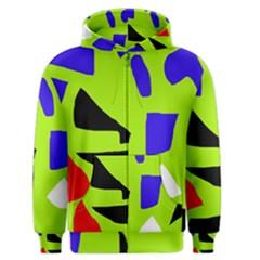 Green Abstraction Men s Zipper Hoodie by Valentinaart