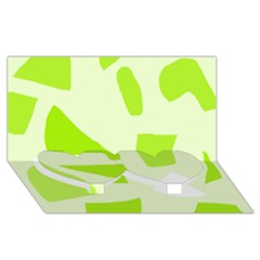 Green Abstract Design Twin Heart Bottom 3d Greeting Card (8x4) by Valentinaart