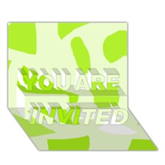 Green abstract design YOU ARE INVITED 3D Greeting Card (7x5)