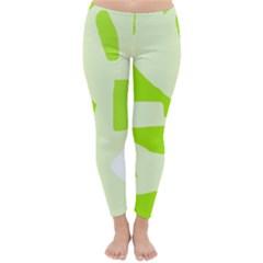 Green Abstract Design Winter Leggings  by Valentinaart