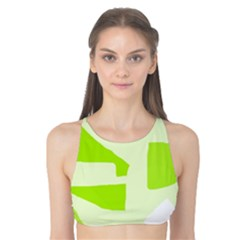 Green Abstract Design Tank Bikini Top by Valentinaart