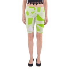 Green Abstract Design Yoga Cropped Leggings by Valentinaart