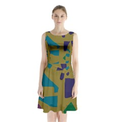 Colorful Abstraction Sleeveless Waist Tie Dress by Valentinaart