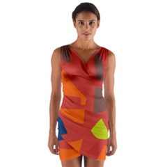 Red Abstraction Wrap Front Bodycon Dress by Valentinaart