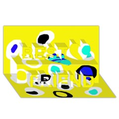 Yellow Abstract Pattern Best Friends 3d Greeting Card (8x4) by Valentinaart