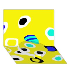 Yellow Abstract Pattern Circle Bottom 3d Greeting Card (7x5)