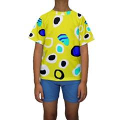 Yellow Abstract Pattern Kid s Short Sleeve Swimwear by Valentinaart