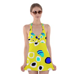 Yellow Abstract Pattern Halter Swimsuit Dress by Valentinaart