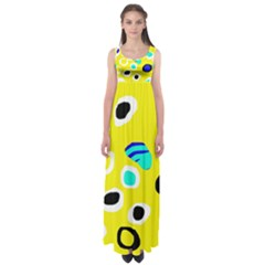 Yellow Abstract Pattern Empire Waist Maxi Dress by Valentinaart