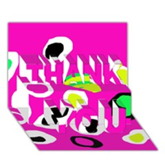 Pink Abstract Pattern Thank You 3d Greeting Card (7x5) by Valentinaart