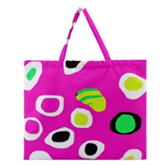Pink Abstract Pattern Zipper Large Tote Bag by Valentinaart