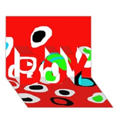 Red Abstract Pattern Boy 3d Greeting Card (7x5) by Valentinaart