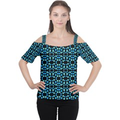 Dots Pattern Turquoise Blue Women s Cutout Shoulder Tee by BrightVibesDesign