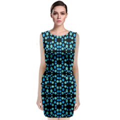 Dots Pattern Turquoise Blue Classic Sleeveless Midi Dress