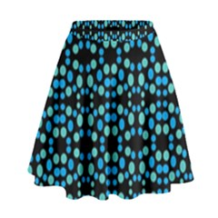 Dots Pattern Turquoise Blue High Waist Skirt by BrightVibesDesign