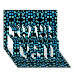 Dots Pattern Turquoise Blue Thank You 3d Greeting Card (7x5) by BrightVibesDesign