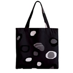 Gray Abstract Pattern Zipper Grocery Tote Bag by Valentinaart