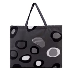 Gray Abstract Pattern Zipper Large Tote Bag by Valentinaart