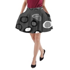 Gray Abstract Pattern A Line Pocket Skirt by Valentinaart