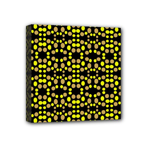 Dots Pattern Yellow Mini Canvas 4  X 4  by BrightVibesDesign