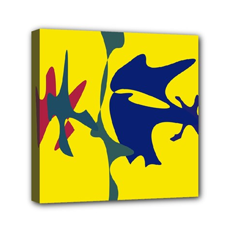 Yellow Amoeba Abstraction Mini Canvas 6  X 6  by Valentinaart