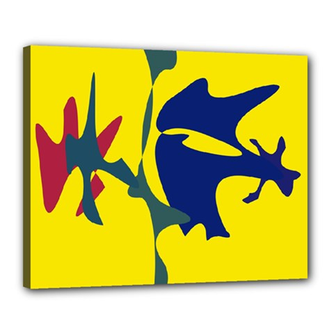 Yellow Amoeba Abstraction Canvas 20  X 16  by Valentinaart